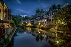 Luxembourg Grund by night (Christoph Pfeilstücker) Tags: europe luxembourg luxembourgcity letzebuerg cityscape ancient oldcity fuji xt1 night reflection reflections river alzette sky blue gold xris74 pixpassion
