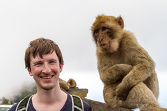 Me and a Barbary macaque (TimOve) Tags: vacation ferie trip summer sommer gibraltar barbarymacaque rockape monkey therock smile