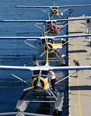 Stack of 4 (John W Olafson) Tags: vancouver outdoor beaver harbourair seaplane coalharbour floatplane dehavilland dhc2 saltspringair