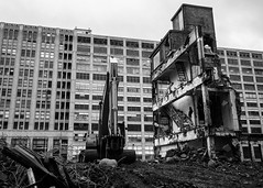 Demolition in Progress (D. Coleman Photography) Tags: county street city windows urban white house black brick industry philadelphia print automobile industrial factory crane pennsylvania district north engine demolition structure historic company pa production motor philly gentrification decline development blight renewal rubble motorcar inquirer bergdoll callowhill