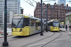 St. Peters Square. Final month June 2015. Manchester Metrolink. (Fred Collins afloat and ashore) Tags: manchester tram lightrail stpeterssquare metrolink tramway tramcar lrv