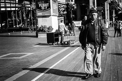I'm So Happy (Vincent Albanese) Tags: street winter shadow people bw woman man coffee pose photo interesting fuji phone pigeon watching sydney inspired streetphotography australia suit fujifilm merrygoround humaninterest 2015 preset xt1 mirrorless elephantgun inspiredeye xf18mm