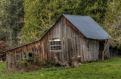 Crooked Weathered Barn - Vancouver Island, British Columbia, Canada (Toad Hollow Photography) Tags: wood canada barn rural bc britishcolumbia farm vancouverisland weathered hdr crooked bucolic patina