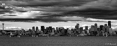 Bainbridge to Seattle (PJ Resnick) Tags: light shadow sky blackandwhite bw white black reflection texture water monochrome ferry skyline clouds digital 35mm buildings grey mono evening washington noir fuji shadows angle outdoor steel gray perspective structures dramatic atmosphere monochromatic wa spaceneedle fujifilm pugetsound simple drama rectangle fujinon atmospheric rectangular seattleskyline resnick xf 2x5 xpro2 pjresnick fujinonxf35mmf14r xf35mmf14 pjresnickgmailcom perryjresnick pjresnick acrosrprofile fujifilxpro2