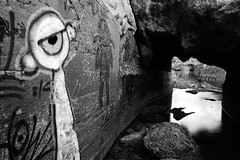 modern cave paintings (hbphototeach) Tags: approved sutro baths san francisco bay area tunnel graffiti black white urban california abandoned