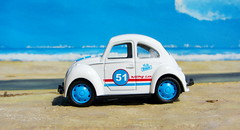 Volkswagen Beetle And Volkswagen Microbus Pull Back And Let Go Die-Cast Toy Made By Funtastic Birmingham England 2015 : Diorama Beach - 5 Of 34 (Kelvin64) Tags: volkswagen beetle and microbus pull back let go diecast toy made by funtastic birmingham england 2015 diorama beach