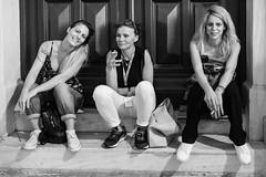 Three Greek Ladies (Ron Scubadiver's Wild Life) Tags: girl woman nikon 50mm candid street style outdoors athens greece tattoos denim monochrome blackandwhite