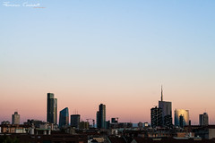 skyscrapers (Drugantib.us) Tags: italia italy lombardia milano milan grattacielo grattacieli skyscraper skyscrapers cielo sky tramonto tramonti sunset sunsets blu paesaggio paesaggi landscapes landscape panorama citt city skyline