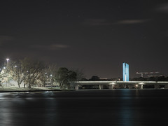 The National Carillon Lit Up in Light Sky Blue - Kingston - ACT - 20160520 @ 05:17 (MomentsForZen) Tags: longexposure startrails bowenpark bowendrive reflections lakeburleygriffin floodlights spotlights lightskyblue blue aspenisland kingsavenuebridge cranes nationalcarillon clouds sky stars starbursts lights night dark lightroom hasselblad500cmcfv50c hasselblad momentsforzen barton australiancapitalterritory australia au