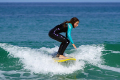 Practice makes perfect (Curufinwe - David B.) Tags: beach sea mer mimizan landes aquitaine france sony a77 a77v sonyalpha77 sonydslta77v 400mm sigma plage waves wave surf surfing wetsuit girl girls woman feminine surfer surfgirl surfergirl surfcamp
