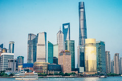 panorama view of shanghai the bund (Tu_images) Tags: china city blue sky urban panorama tower skyline skyscraper river landscape asian asia waterfront skyscrapers shanghai pano chinese landmark panoramic financial bund finance lujiazui urbanity
