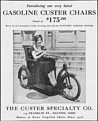 Custer Invalid Trike (jackcast2015) Tags: handicapped disabledwoman crippledwoman invalidtricycle paralysed poliogirl advertisement