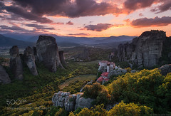 Dreams of Meteora (l3v1k) Tags: ifttt 500px sunset mountains greece fujifilm valley country blue hour monastery meteora xt2 bluehour