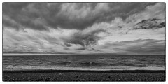 Grey Horizon (warth man) Tags: d750 nikon1635mmf4vr mono silverefexpro seascape waves horizon grey windturbines clouds sky