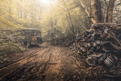 Offroad bus rally (marco18678) Tags: nikon d750 tamron 1530 lost abandoned decay decayed old bus wheels woods natural light amazing beautiful photography rally offroad europe world urbex urban ue urbanexploring exploring race mysterious hidden eu belgium forgotten pixanpictures tree