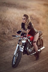 Geneva (Valerie Thompson Photography) Tags: desert motorcycle bike motorbike sunset light madmax babe darkmakeup caferacer nevada reno renophotographer renoportraitphotographer renonevada retouch edit editorial edgy create creative creativephotography canon canon6d artist art beautiful hills dirt dusty 85mm photographer photoshoot portrait portraitphotographer pose mohawk hair blonde tattoo shavedhead leather fashion fashionphotography diy diyphotography summer sun backlighting naturallight dirtroad valeriethompsonphotography badass eyeshadow eyes smokeyeye biker