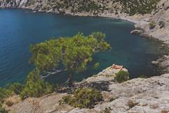 Crimean Cove (lance mills) Tags: crimea russia cliff girl sunbathe tree blue sea sun summer cove water fuji fujifilm x100t