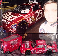 #51-43, Kenny Schader, #25, Budweiser, Pictures With Real Hot Wheels Cars & Their Diecast (Picture Proof Autographs) Tags: photograph photographs inperson pictureproof photoproof picture photo proof image images collector collectors collection collections collectible collectibles classic authentic authenticated real genuine diecast auto autos vehicles vehicle model toy toys automobile automobiles autoracing sport sports nascar series winstoncup sprintcup busch nationwide hotwheels fred frederick weichmann
