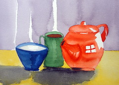 Red kettle 02, by Luciana - DSC09507 (Dona Mincia) Tags: red stilllife art cup kitchen watercolor painting paper arte bowl tools kettle study caneca pintura aquarela naturezamorta tigela chaleiravermelha