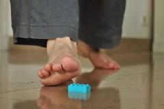 Imminent danger - Danger imminent (fred_v) Tags: blue danger foot lego bleu pied imminentdanger flickrfriday