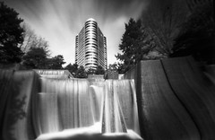 Our world just beyond our sight (Zeb Andrews) Tags: longexposure urban film fountain oregon analog portland ir blackwhite downtown cityscape infrared 6x9 lensless irakellerfountain zeroimage zero69