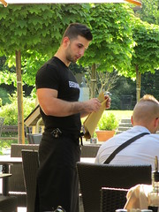 Beginner: hunky waiter at As Aperitivo, Ljubljana, Slovenia (Paul McClure DC) Tags: people slovenia ljubljana slovenija may2015