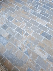 outdoor patio grey and beige floor natural stone (odedrobinson) Tags: patio cobbles paving antique marble limestone natural stone tumbled gri bej piatra naturala pavaj