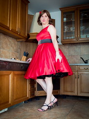 Lady in red (blackietv) Tags: red dress full skirt petticoat housewife vintage retro tgirl transvestite crossdresser crossdressing transgender kitchen