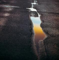 untitled (Esben Bg) Tags: film grain 6x6 medium format hasselblad 500cm carl zeiss 80mm kodak portra sunset sun setting concrete reflection outdoor
