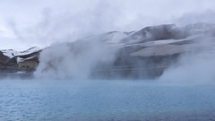 the steaming waters of Iceland (lunaryuna) Tags: lake season landscape iceland spring hills lunaryuna energyproduction volcanicarea hotsteam geothermalactivities myvatnregion centralnorthiceland motherearthlab