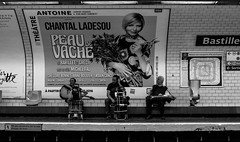 IMG_9931 (Lens a Lot) Tags: paris | 2016 carl zeiss distagon 35mm f28 1991 6 blades iris cy mount f56 black white street photography depth field metro gate station subway people city life vintage manual west germany made japan prime lens noir et blanc monochrome rom musician beggar bastille