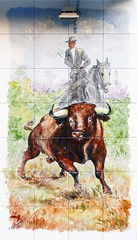 Azulejos. Taberna La Tienta (Madrid) (Juan Alcor) Tags: azulejos taberna latienta taurino ambiente toro garrochista madrid cmespantaleon