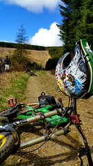 Ride (Stewcy Productions) Tags: sky green sports bike yellow fix day ride rice forrest scottish sunny dirt peebles cycle build workout borders glentress warmish frankenbike