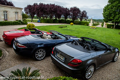 SuperCar-RoadTrip - Ferrari F430 Spider - Mercerdes SML55 AMG - Jaguar XK Cabriolet - Lamborghini Gallardo Spyder (SuperCar RoadTrip) Tags: road trip red speed rouge mercedes wine bordeaux engine gear roadtrip ferrari route sound vin jaguar circuit lamborghini supercar v8 v10 chateaux amg vitesse balade moteur gironde merignac