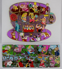 Alice in Wonderland 65th Anniversary Puzzle Mystery Set  and Alice in Wonderland Character Connection - Completed Puzzles (drj1828) Tags: us disneyland dlr dl60 pin disneypintrading purchase 2016 limitedrelease aliceinwonderland 65th anniversary puzzle set mystery conceal character connection