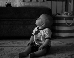 looking Up (Plump Panda Photography) Tags: blackandwhite baby canon sitting child 5d pancake primelens canon40mmstm