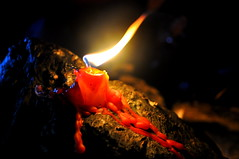 There's a Light That Never Goes Out (KeilaStradlin25) Tags: candle mountain light never goes out nature camping wax melting melted red flame fire rock rocks