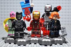 #TeamIronMan ([ I ] RENNER) Tags: ironman vision civilwar superhero blackwidow minifigs blackpanther warmachine spiderboy teamironman superherominifigs