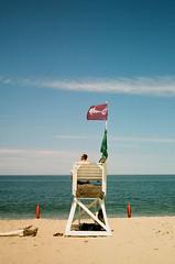 Shark Warning Flag (John's Vintage Cameras) Tags: trip film analog vintage shark capecod massachusetts olympus 45mm greatwhiteshark kodakgold