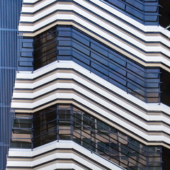 Zaragoza Ventanas (Bruce Poole) Tags: windows summer reflection window architecture reflections ventana spain zaragoza ventanas reflet modernarchitecture zigzag modernist fenetre vitres vitre diagonals 2016 brucepoole