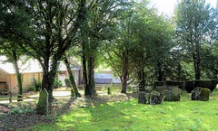 11th Century Church yard of St Botolph and Part of Swyncombe Manor (standhisround) Tags: oxfordshire fencedfriday hff behindfences gate fence trees church churchyard graveyard swyncombe parishchurch buildings building architecture light shadows gravestones historic ancient