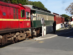 Port Elliot. A Steamranger heritage train pulled by a diesel crossing The Strand near the Port Elliot railway station. (denisbin) Tags: southcoast portelliot cemetery catholic steamranger train diesel dieseltrain store theregistry carriage sar traincarriage