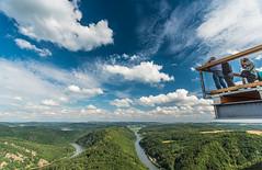 A walk in the sky (dr.rol) Tags: landschaft wald saarlorlux saarschleife saarland germany wlder forest river fluss saar summer sky blue polarizer clouds