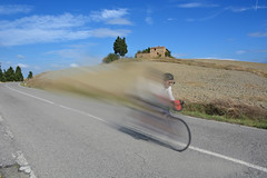 Me Cycling Down a Hill in Tuscany (Len Radin) Tags: sancascianodeibagni speed racing bike tuscany photoshop giantbicyclette   bicikl cykel fiets rad    bicicletta  bicicleta  xe p  fahrrad bicycle blur speedblur italy bicyclingtrip discoverybicycle europe me lenradin drlenradin roadbike