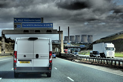 A1 Northbound, Ferrybridge, West Yorkshire. (ManOfYorkshire) Tags: a1 motorway m62 junction ferrybridge westyorkshire road power station gantry signs fiat ducato lorry lorries articulated lanes sky dramatic manchester leeds wetherby thenorth central reservation barriers cooling towers closed junction41