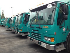 A line of Condor Amreps (SoCalGarbageTrucks) Tags: city truck los garbage angeles bureau side condor refuse loader sanitation peterbilt 320 automated octo amrep