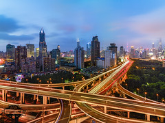Shanghai Central Intersection 05 - 18-Jul-2016 (--) Tags: shanghai bridge bridges intersection highway lights night light trail long exposure clouds sky city pudong skyscrapers cityscape alpa 12 max rodenstock hr 32mm 32 f4 f40 phase one p45 rooftop perspective china asia dusk blue hour traffic busy metropolis sunset