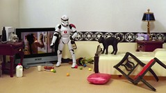 Cat-tastrophe on the Death Star (ChicaD58) Tags: dscf4540b starwarsactionfigure actionfigure stormtrooper clonetrooper stb stormtrooperbruce thepsnephewscat mrfancypants petsitting cujothecat tv plant bed endtables lamp tissue pillow brokenchair coffeemaker minicommemorativedarthbottleofscotch wineglass wine milk sausage rubberballs