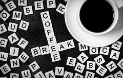 Coffee Break (lkaldeway) Tags: blackandwhite stilllife cup coffee monochrome word java words beans mud text letters crossword joe mocha alphabet caffeine perk