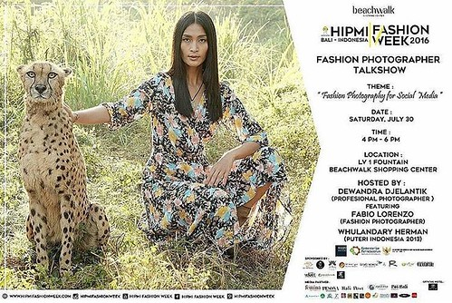Mark your calendar, Fashion Photography Talkshow on HIPMI Fashion Week 2016, 30th July 2016 Kuta Beachwalk 4pm-6pm hosted by me featuring bali respected fashion photographer @fabiolorenzo and miss universe indonesia 2013 @whulandary.   Book your seat... L